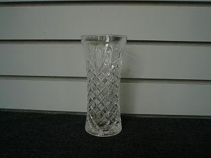 Clear Glass Angular Etchings Vase