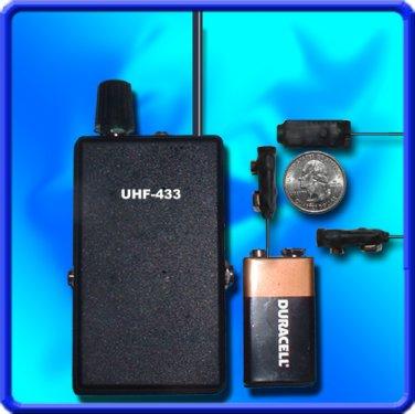 Surveillance UHF BUG SPY TRANSMITTER + DIGITAL UHF RECEIVER CRYSTAL CONTROLLED PLL SET!!!