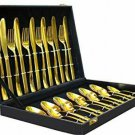Style OK 24 Pieces Luxury Gold Plated Classic Cutlery Set Dinner Spoon Knives Fo