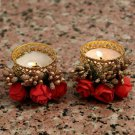 Decorative T Light Golden Flowers Red Pollens Set of 2 Red Inactive