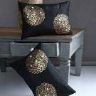 Alina Decor Black and Gold Toned Set of 2 Embellished Rectangle Cushion Cover