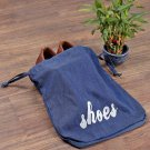 Set of 2 Navy Blue Solid Denim Shoe Cover get within 6 days through DHL Express