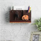 Brown and Orange Handcrafted Wall Mounting Magazine Holder cum Key holder
