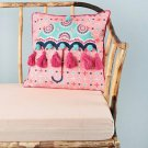 Chumbak Pink and Turquoise Blue Quirky Square Cushion Cover(Polyester)