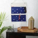 My Gift Booth Navy Blue and White Solid Multi Utility wall hanging organizer