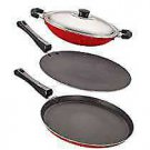 Nirlon Non Stick Odor Free 3 Pieces Gas Compatible Cookware Items with Bakelite
