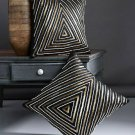 Alina Decor Black Set of 2 Solid Square Cushio Covers(Polyester)