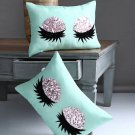 Alina Decor Sea Green and Silver Toned Set of 2 Abstract Rectangle Cushion cover