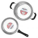 Axiom Stainless Steel Induction Cookware Combo of Fry pan 1100 ml and Kadai 2100