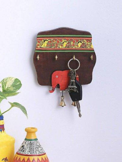 Brown Elephant Wooden Madhubani Key holder with 4 hooks get within 4 days