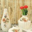 Aapno Rajasthan Set of 3 White Ceramic Flower Vase round in shape