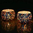 Festive season, Homesake Set of 2 Moroccan Glass Star Mosaic Tea Light Candle Ho