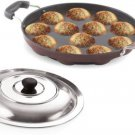 Non-Stick 12 Cavity Appam Maker Paddu Paniyarakkal Patra Pan with Lid  (Aluminium, Non-stick)