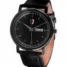 SM MEN'S (DAY & DATE) BLACK DIAL LEATHER STRAP WATCH