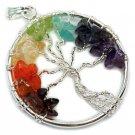 KESAR ZEMS Multicolour Crystal 7 Chakra Stones Tree Pendant