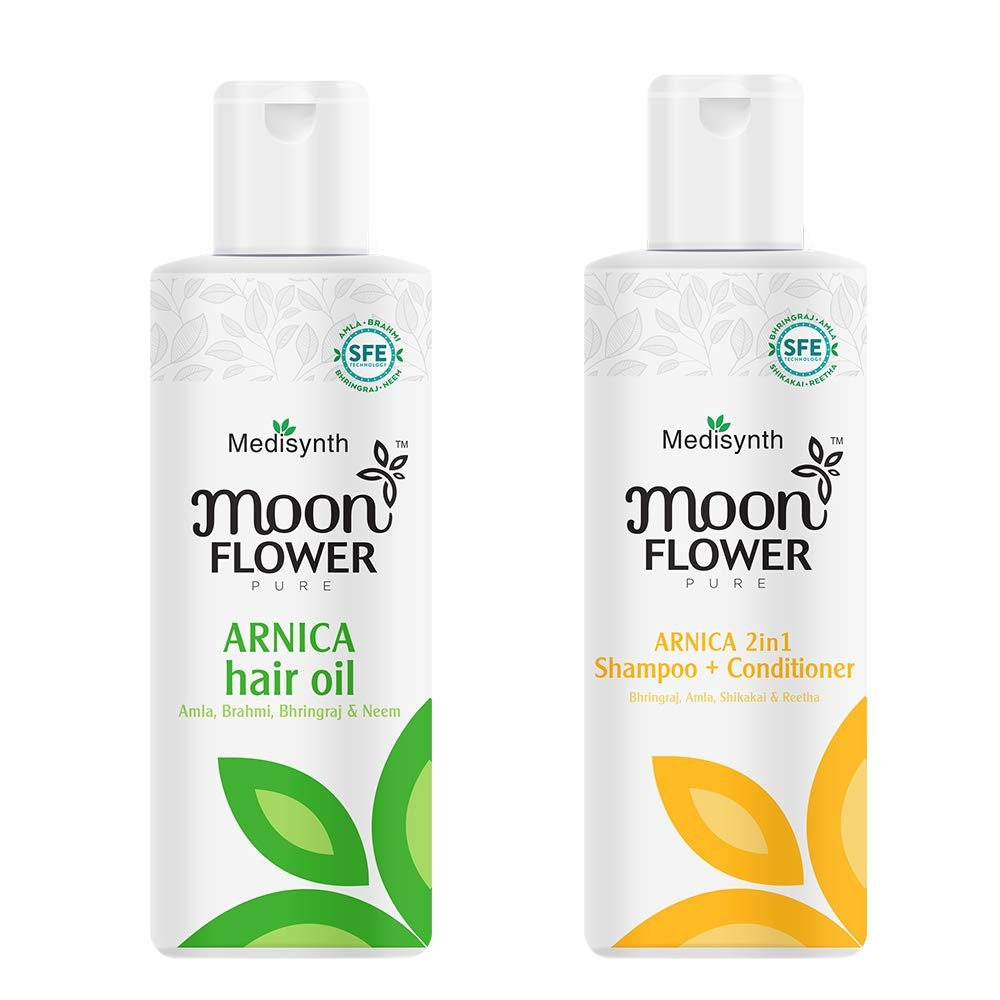 Moonflower Arnica Hair oil and Arnica Shampoo + Conditioner