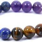 Beadworks  Stone, Brass Tiger's Eye, Amethyst, Agate Beryl Silver Bracelet