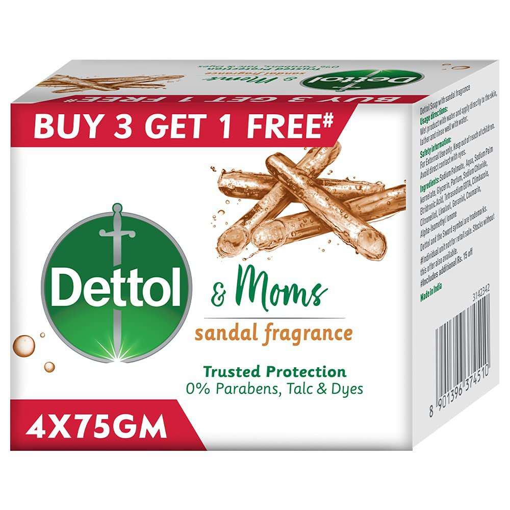 Dettol Sandal Bathing Soap Bar with Naturally Derived Ingredients, 75 gm