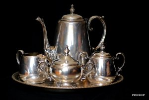 WM ROGERS Star and Eagle TEA SET (Silverplate)