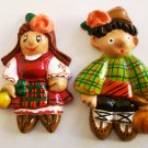 Ceramic Fridge Magnet Handmade home collection 2 piece