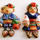 Fridge Ceramic Magnet Handmade multicolor 2 piece