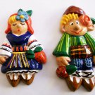 Ceramic Magnet Fridge Handmade 2 piece