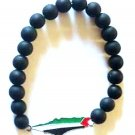 Unisex Palestine Silver Flag Metal Map design black beaded Bracelet Wristband
