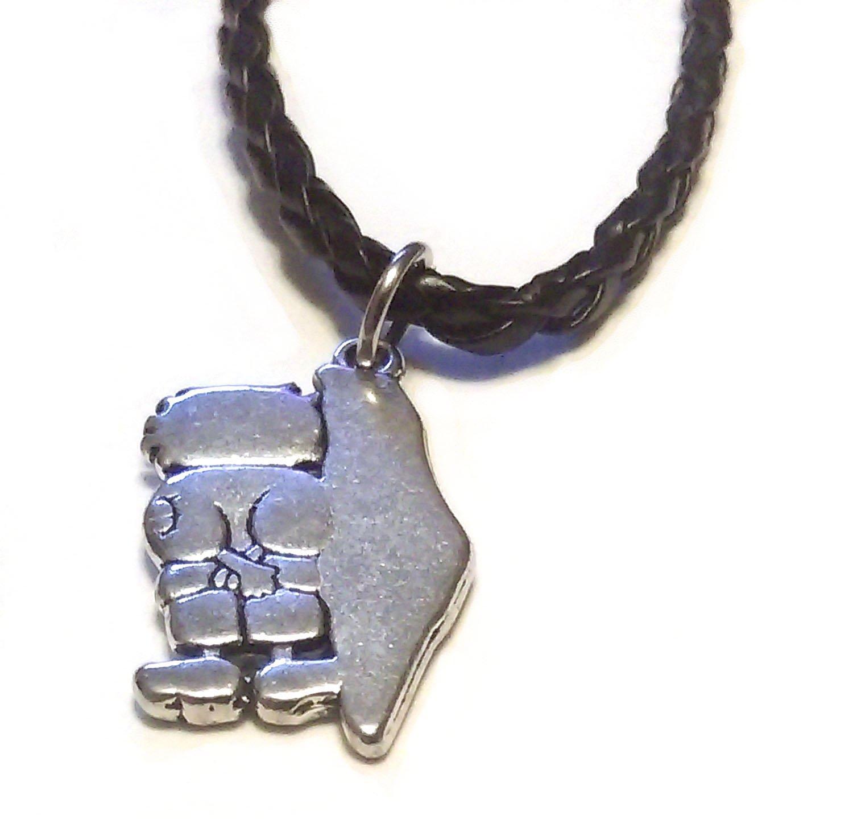 Palestine Silver Map Pendant Handalah Hanthala & 45cm Leather Necklace