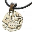 Antique Palestine Return key design Silver pendant & 40 cm leather necklace
