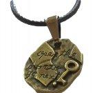 Antique Palestine Return key design Bronze pendant & 40 cm leather necklace