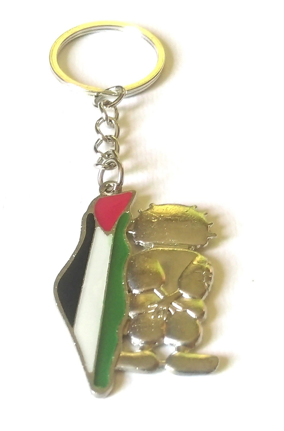 Palestine Map with handala character Metal Keychain Key Holder Ring