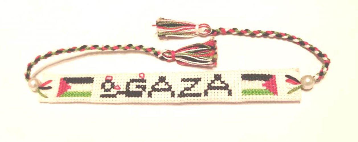 Adjustable Handmade Embroidered Gaza, Palestine Bracelet Fashion Wristband