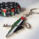 Fancy Unisex Palestine bracelet Chrome Flag & Palestine Map flag keychain keyring