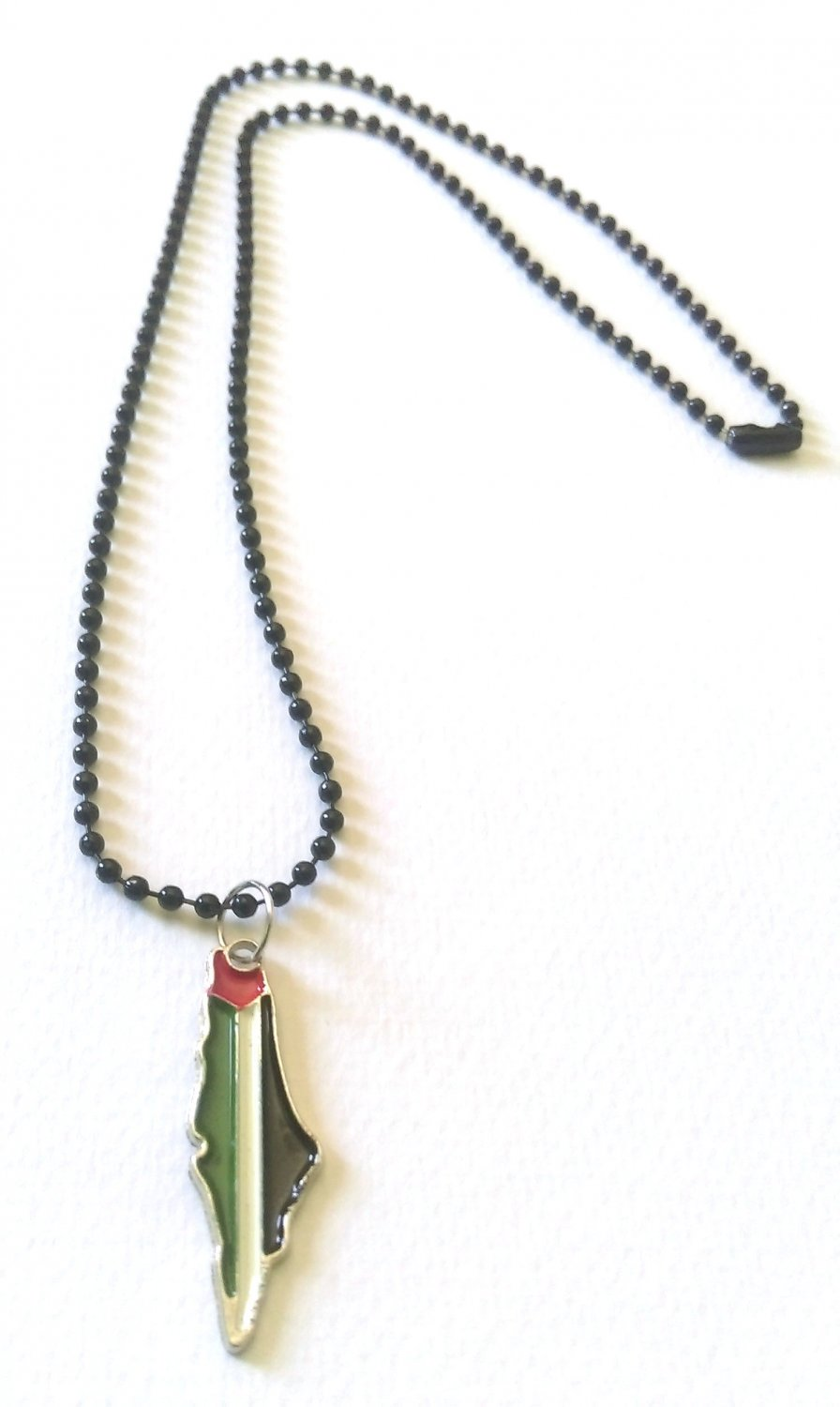 Unisex Palestine Metal Colored Map with Metal Necklace, Black 50 cm Necklace