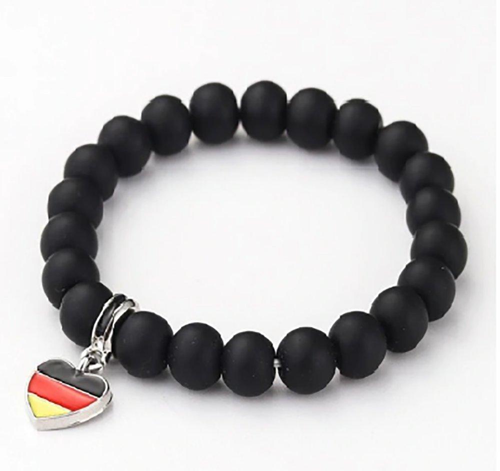 Unisex National flag Bracelet black beaded Stone Germany Flag love heart design