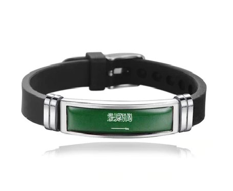 Unisex Saudi Arabia National flag Bracelet Adjustable Silicone Wristband