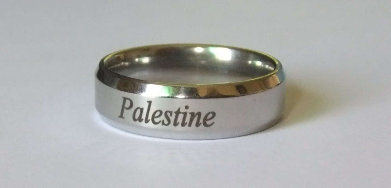 Unisex Palestine Word in Arabic Handwriting Men Women Titanium Ring