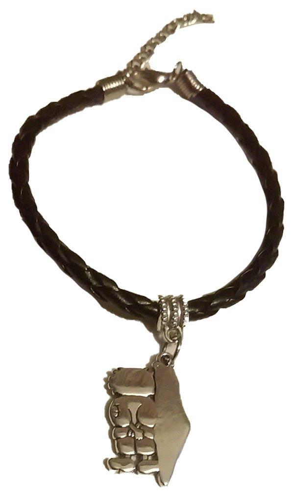 Unisex Unique Palestine Handala & Map Silver pendant handmade fancy leather bracelet