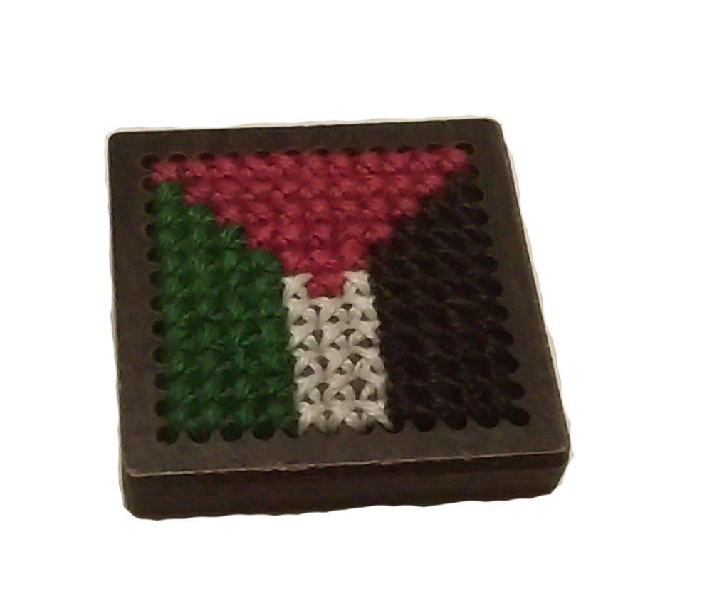 Unique piece of Palestine handmade embroider flag wood frame frig magnet