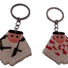 Lot (2) Pcs Palestinian character Man black & white red & white shemagh keychain keyring