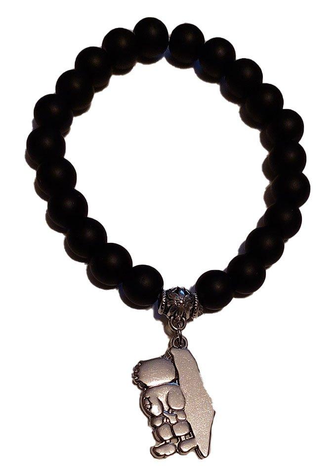 Unisex Palestine Handala Handalah & Map Silver pendant handmade beaded bracelet