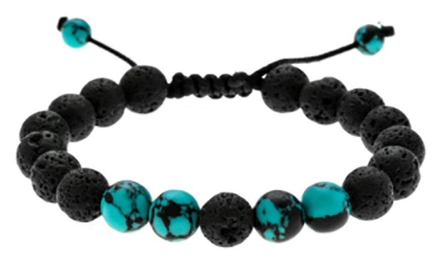 Unisex Fashion Style wooden beads adjustable Lava Stone Bracelet Wristband