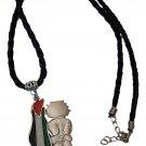 Palestine Metal Map Flag Handala Handalah & black Leather Necklace