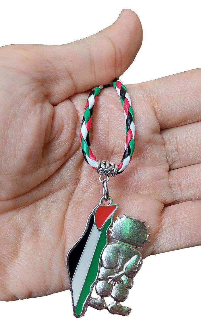 Palestine Metal Map Flag Handala Handalah & colored Leather Necklace