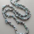 Larimar gemstone nugget bead necklace .. pale blue stone crystal pectolite jewelry