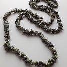 Serpentine gemstone nugget necklace .. dark green crystal stone jewelry