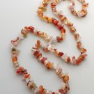 Carnelian agate gemstone nugget necklace .. orange bead crystal stone jewelry