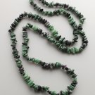 Green zoisite gemstone nugget necklace .. stone bead nugget crystal jewelry