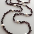 Garnet & freshwater cultured pearl bead necklace .. red crystal stone jewelry