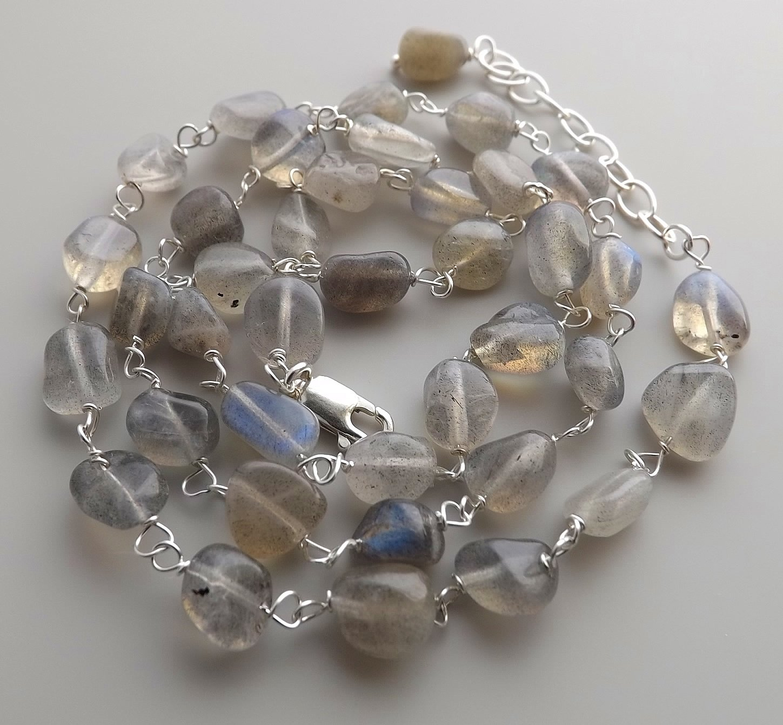 Labradorite gemstone bead 925 sterling silver necklace grey nugget  jewelry